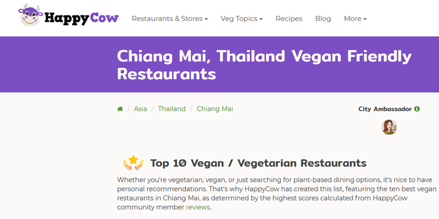Anchan Vegetarian Listed in Top 10 Vegan / Vegetarian Restaurants by Happy Cow