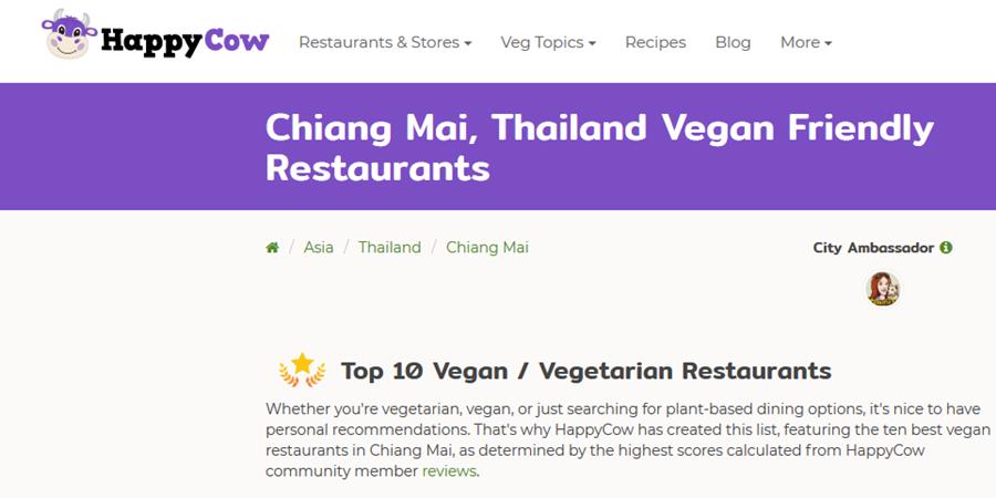happy cow top 10 vegetarian restaurants vegan Chiang Mai Thailand
